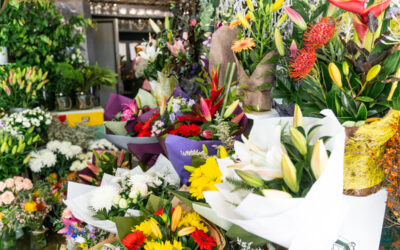 Lots of bright colours in our florist shop